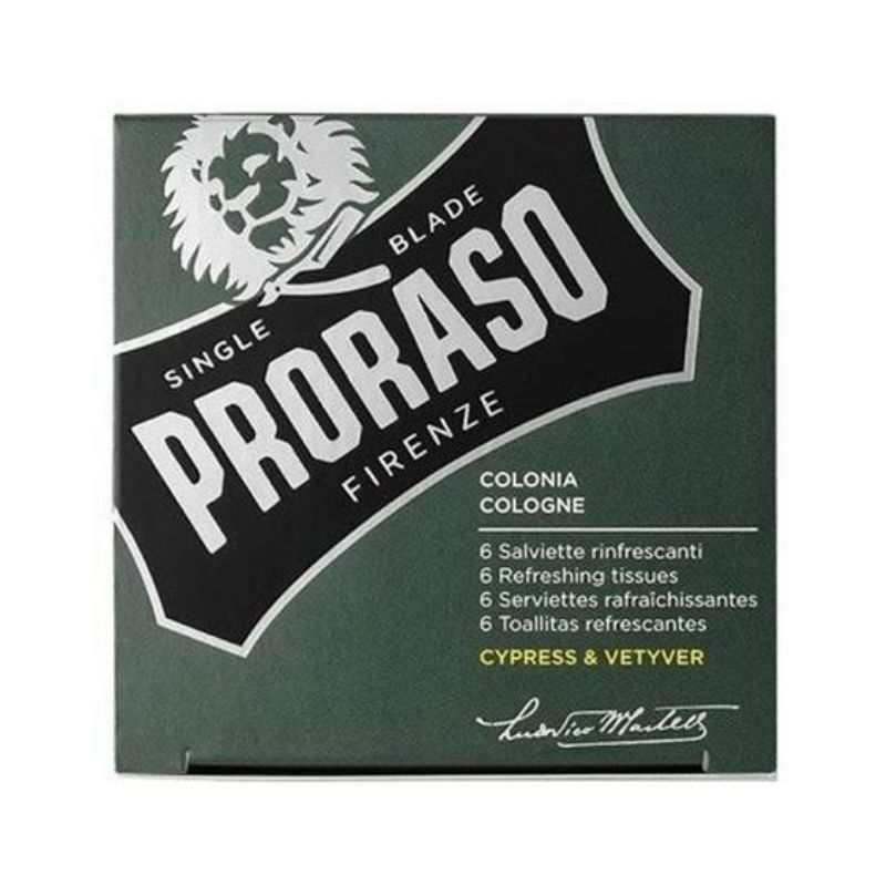 Proraso Cologne Refreshing Tissues Cypress & Vetyver 6st